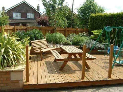 Wooden decking patio in Birmingham by All Driveways Birmingham UK